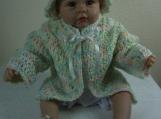 Handmade Baby Sweater, Cap & Booties set - Baby Print