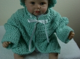 Handmade Baby Sweater, Cap & Booties set - Green