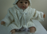 Handmade Baby Sweater, Cap & Booties set - White
