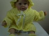Handmade Baby Sweater, Cap & Booties set - Yellow