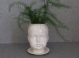 "ceramic ""Sweet Cheeks"" head pot, white planter"