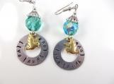 Custom-Hand stamped - live, laugh, love bird earrings