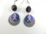 Custom-Hand stamped - survivor - earrings