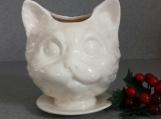 Succulent herb pot white Cat head ceramic planter on saucer