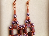 Purple and raspberry dangle earrings
