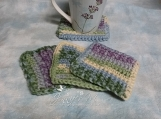 Set of 4 Crocheted Coasters in Multi-Tone Colors