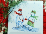 Snowman Couple Skating on a Clay Tile Trivet.