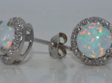 Opal Diamond Stud Earrings .925 Sterling Silver Rhodium Finish
