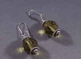 Sterling Silver and Faceted Green Earrings