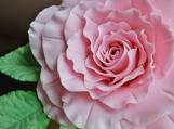 """Light Pink Gumpaste Rose, XL, Creased, 3"""" with 3-Leaf Stem"""