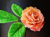 """Multi-color Gumpaste Rose, Small, Pink/Yellow, 1.5"""" with 3-Leaf"""
