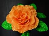 "Orange Gumpaste Rose, XXL, Ruffled, 3.5"" and 3-Leaf Stem"