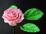 """Pink Gumpaste Rose, Small, 1.5"""" and 3-Leaf Stem"""