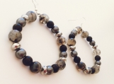 Smokey gray and black beaded hoops, pearls, crystal, and glass beads