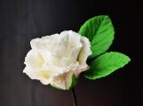 """White Gumpaste Rose, Medium, Creased, 2"""" with 3-Leaf Stem"""