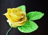 """Yellow Gumpaste Rose, Small, 1.5"""" and 3-Leaf Stem"""