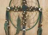 CrossCatcher: A Beaded Cross captured in a Dream Catcher (CC06)