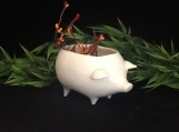 Vintage ceramic pig planter White think Christmas gift Succulent herb pot