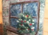 "Felted Soap Landscape ""Through the Window"", Rose Scented"