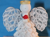 All White Angel Ornament holding a Rose