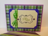 Birthday card in green and purple with handmade envelope