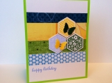 Birthday card with hexagons and butterflies