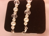 Cream Glass Pearl and Faceted Gemstone Beaded Earrings