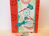 Stamped birthday card in coral and aqua