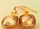 Golden Shadow Cushion-Cut Swarovski Crystal Earrings