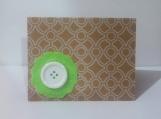 Green Felt Flower w/White Button Note Card Keepsake