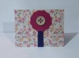 Pink/Blue Felt Flower w/Tan Button Note Card Keepsake