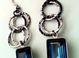 Swarovski Deep Blue Crystal Earrings with Multiple Gunmetal Hoops