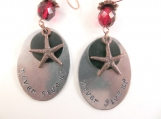 Hand stamped never give up starfish earrings