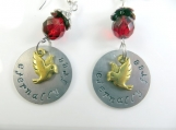 Hand stamped red earrings