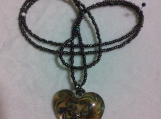 Multi colored seed beads chain with a heart pendant (#83)