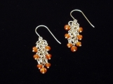 Chain Maille Sterling Silver and Carnelian Earrings