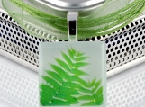Green Fern Leaves... Happy Earth Day - ECO Glass Photo Pendant Necklace