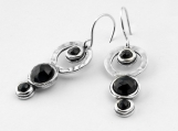 Sterling Silver Circles Sequence Earrings Enhaced With Multiple Faceted Onyx Cabs