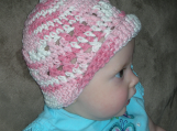Baby Crossed Bucket Hat, Pink with White