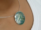Fine silver and enamel pendant