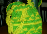 Handbag, Hand-crocheted, Lime and Lemon