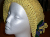 Hat , Hand-crocheted, Cotton, Yellow,