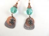 Hand stamped aqua RN earrings