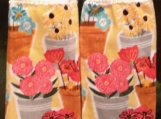 2 New Hanging kitchen towels with crocheted top/Flower garden