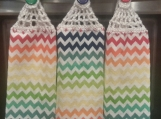 3 Hanging kitchen towels with crocheted top/ ZigZag