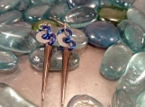Blue and Silver Spike Earrings