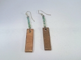 Copper Dangles with Blue Green Glass Beads made from Copper  Pipe