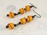 Orange earrings, Orange Wire Wrapped Earrings