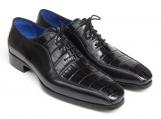 Paul Parkman black genuine crocodile & calfskin oxford shoes
