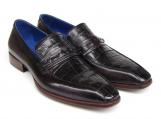Paul Parkman Men's Black Genuine Crocodile & Purple Calfskin Loafers